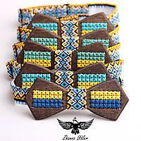 Деревянные галстуки - бабочки с вышивкой., фото 1