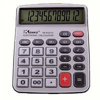 Настольный калькулятор Kenko KK-9123, металлический корпус, 12-разрядный дисплей, прозрачные кнопки, 1*ААА