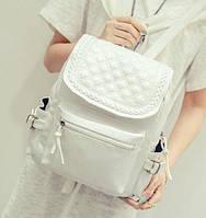 Рюкзак женский кожзам городской Weaving Белый, фото 1