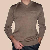 Вязаный мужской свитер бронзового цвета машинной вязки