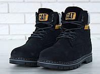 Ботинки женские зимние на меху черные нубуковые модные от бренда Cat  39