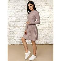 Платье пудровое вязаное шерстяное теплое очень милое 42-44