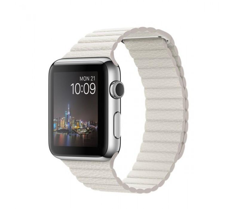 Кожаный ремешок, Baseus, Apple Watch 44mm Leather Loop - White BS-3223