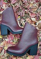 Ботинки Деми Бордо  натуральная кожа