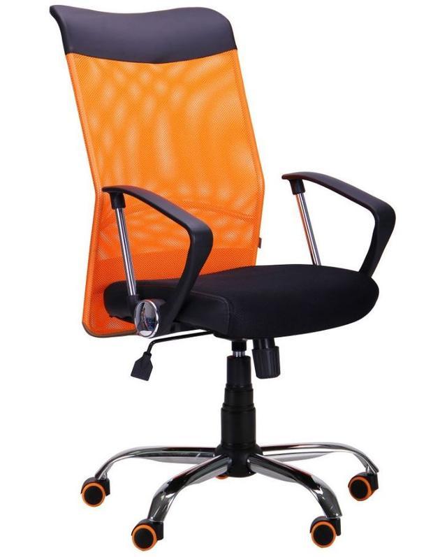 Кресло АЭРО HB Line Color сиденье Сетка чёрная,Неаполь N-20/спинка Сетка оранжевая, вст.Неаполь N-20