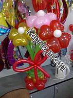 Букет из шаров-сердечек на основе