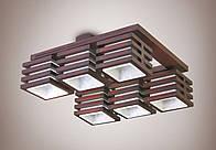 Люстра 6-ти ламповая, деревянная, зал  11506