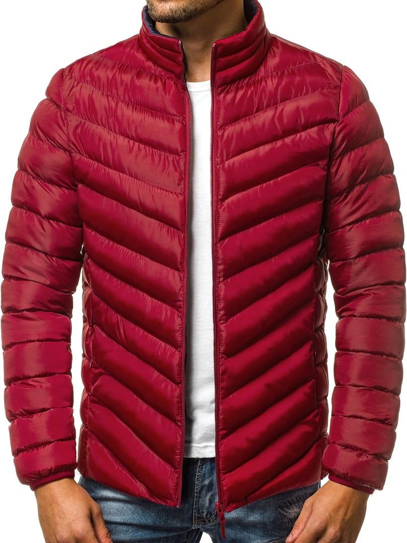 Мужская стеганая куртка J.Style бордовая топ реплика