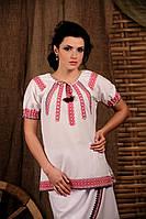 Вышиванка женская с коротким рукавом. Жіноча блуза Модель:ЖБ-19-129