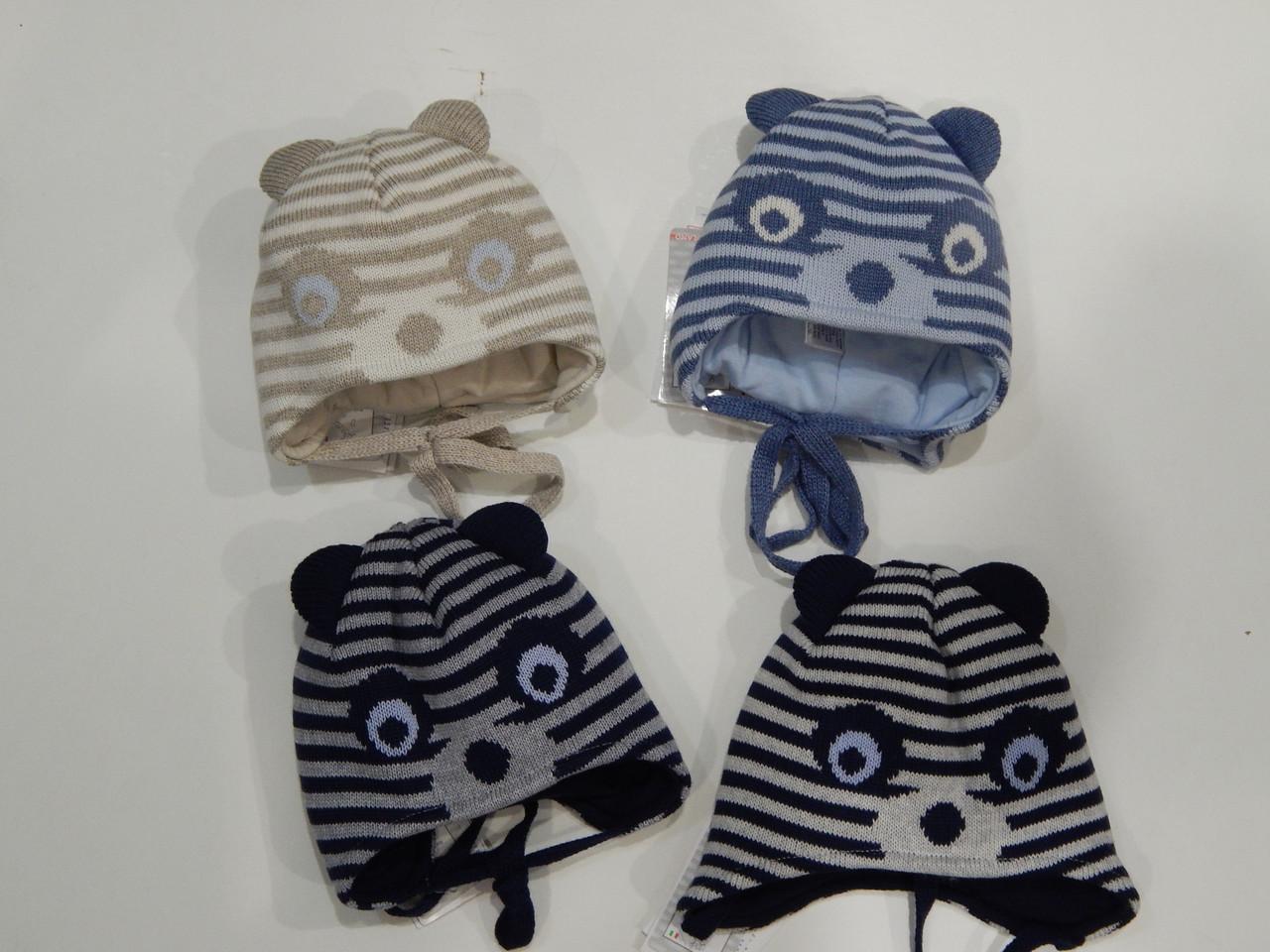 Шапочка зимняя для мальчика ТМ Barbaras объем головы 40-42, 42-44 коричневая, синяя, черная, серая