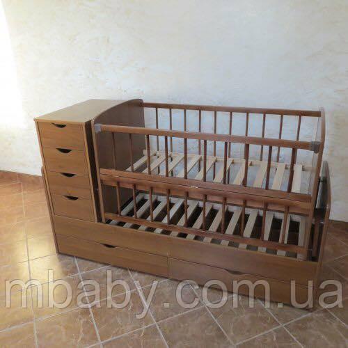 Детская кроватка трансформер №3 (Орех)