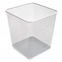 Корзина прямоугольная металлическая серебряная 10 л