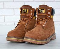 Ботинки мужские зимние меховые теплые прошитые нубуковые модные от бренда Cat
