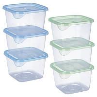 Набор контейнеров пластиковых для пищевых продуктов 3шт/наб 450мл квадрат PT-82736 (30шт)