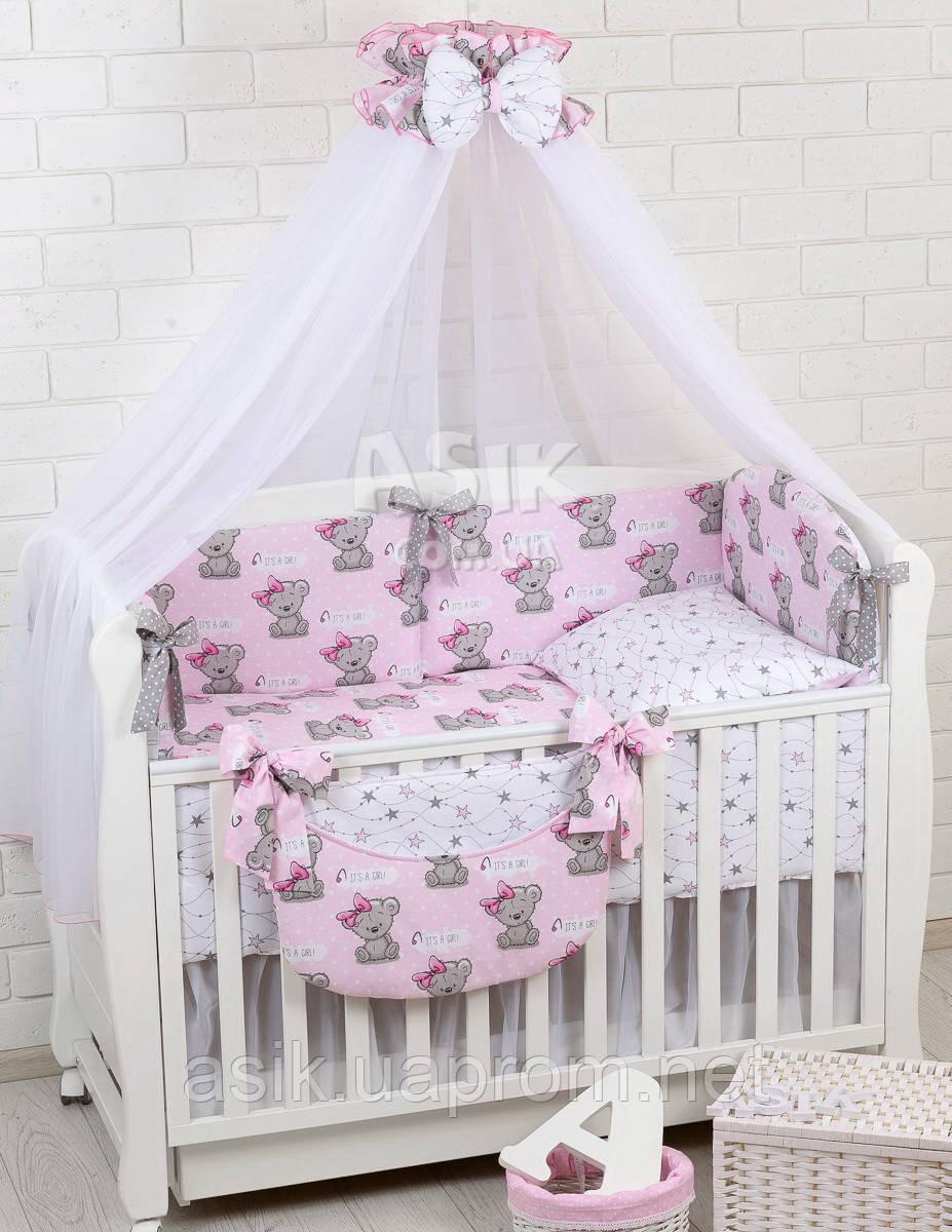 Комплект постельного белья Asik Мишка Girl и звёздочки на розовом 8 предметов (8-303)