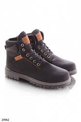 Ботинки зимние мужские на шнуровке,  эко-кожа