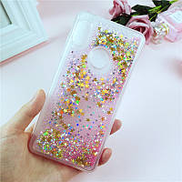 Чехол Glitter для Huawei P Smart Plus Бампер Жидкий блеск звезды розовый