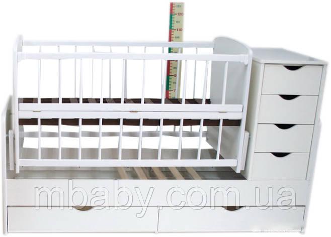 Детская кроватка трансформер №3 (Белый)