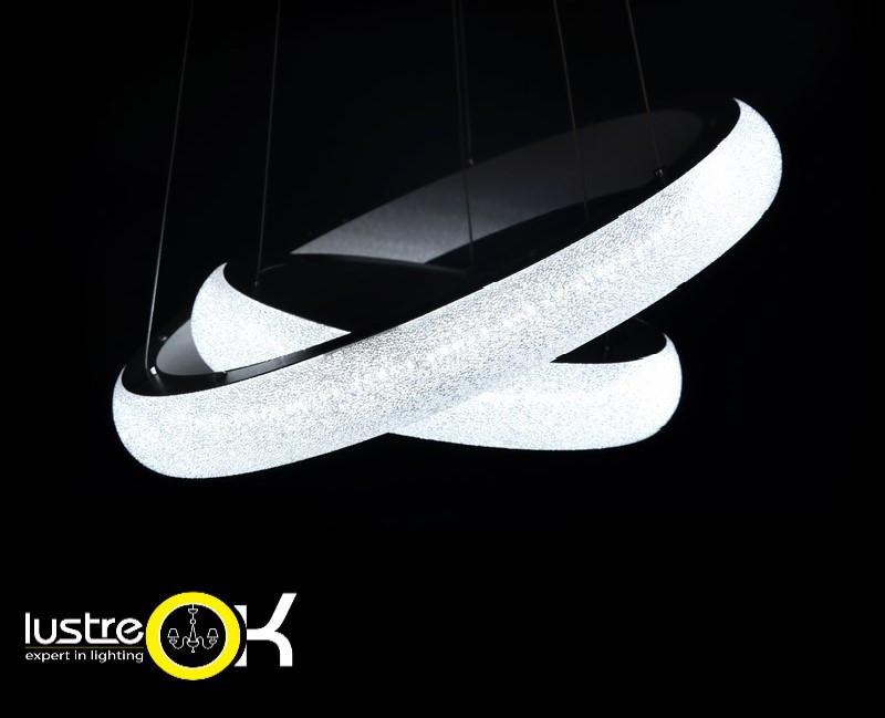 Светодиодная люстра с пультом управления 8102/500+350 GR  Cristal Dimmer