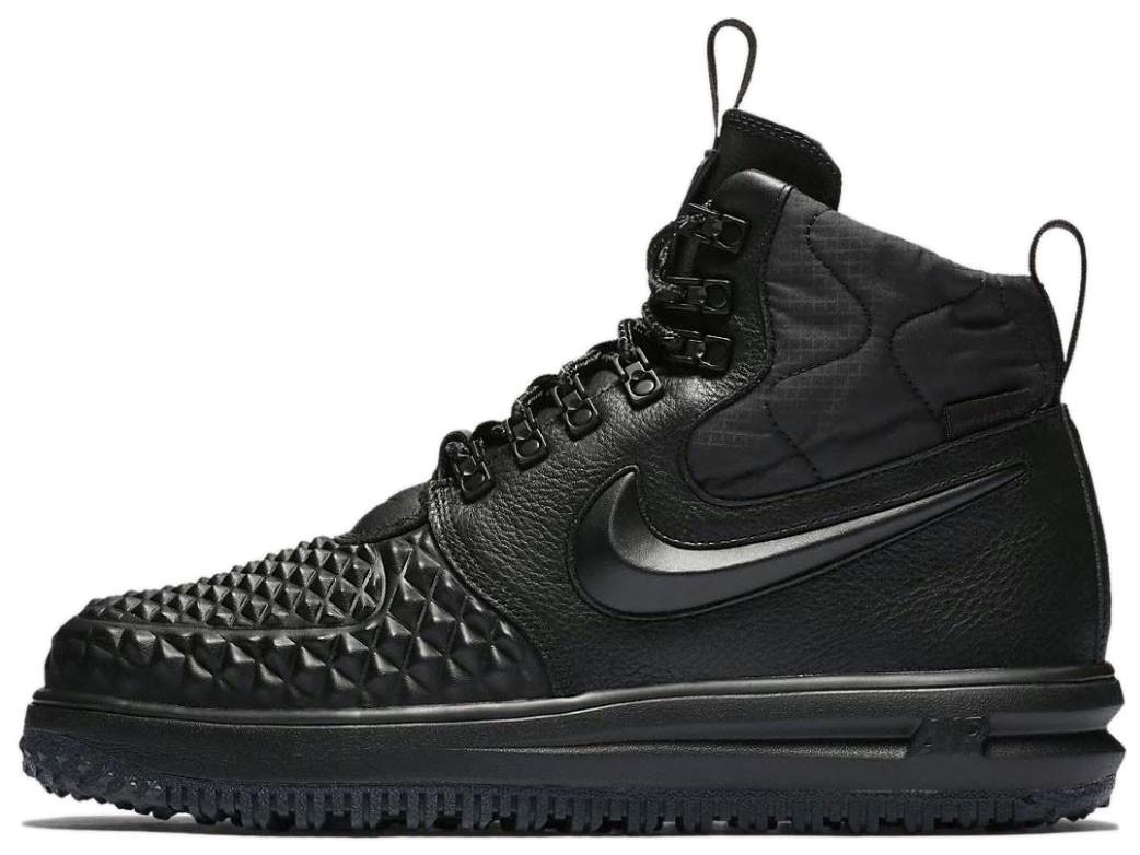 """Мужские кроссовки Nike Lunar Force 1 Duckboot '17 """"Triple Black"""" (Найк) черные"""