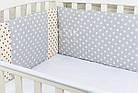 Защита в детскую кроватку ASIK Единороги и горох на сером (1-74), фото 2