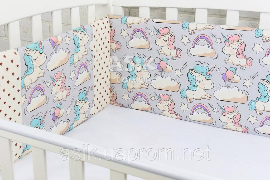 Защита в детскую кроватку ASIK Единороги и горох на сером (1-74)