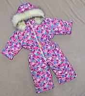 Зимний комбинезон для девочек цельный на овчине, фото 1