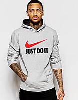 Теплая Cерая толстовка с принтом Найк Nike Just Do It худи (РЕПЛИКА)