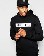 Зимова молодіжна толстовка чорна з принтом Найк F. C. Nike худі (РЕПЛІКА)