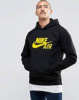 С начесом мужская черная толстовка с принтом Найк Nike Air  худи (РЕПЛИКА)