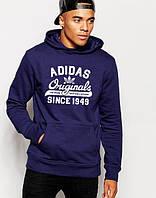 На зиму толстовка молодежная с принтом Adidas Originals 1949 Адидас худи темно синяя (РЕПЛИКА)