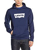 Флісова толстовка молодіжна з принтом Левіс Levis темно синя худі (РЕПЛІКА)