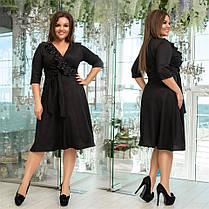 Привлекательное женское платье с жемчугом Изумрудное. (4 цвета) Р-ры: 48-58. (138)1024., фото 2