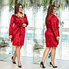 Яркое бархатное женское платье с паетками Бордовое. (3 цвета) Р-ры: 48-54. (138)995.