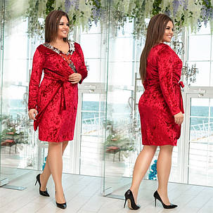 Яркое бархатное женское платье с паетками Бордовое. (3 цвета) Р-ры: 48-54. (138)995., фото 2