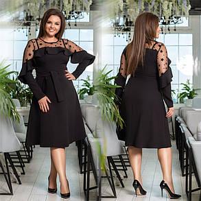 Изысканное женское платье с сеточкой Чёрное. (4 цвета) Р-ры: 48-54. (138)1027. , фото 2