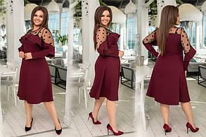 Изысканное женское платье с сеточкой Чёрное. (4 цвета) Р-ры: 48-54. (138)1027. , фото 3
