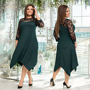 Гипюровое женское платье со вкусом Бордовое. (3 цвета) Р-ры: 48-54. (138)1021. , фото 2