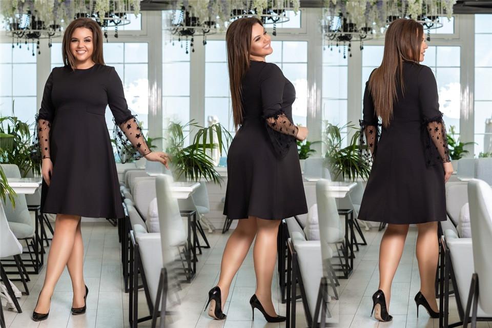 Хорошенькое женское платье с рукавом сетка Чёрное. (4 цвета) Р-ры: 48-54. (138)1026.