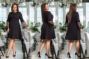 Хорошенькое женское платье с рукавом сетка Чёрное. (4 цвета) Р-ры: 48-54. (138)1026. , фото 2