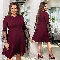 Хорошенькое женское платье с рукавом сетка Чёрное. (4 цвета) Р-ры: 48-54. (138)1026. , фото 3