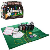 Настольная игра THS-153 покер,200 фиш(без ном),2 кол.карт,сукно,в кор-ке(металл),26-21-9,5 см