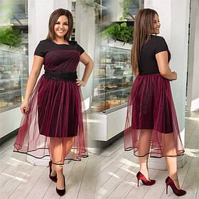 Нарядное женское платье с фатином Бордовое. (3 цвета) Р-ры: 48-58. (138)1025.