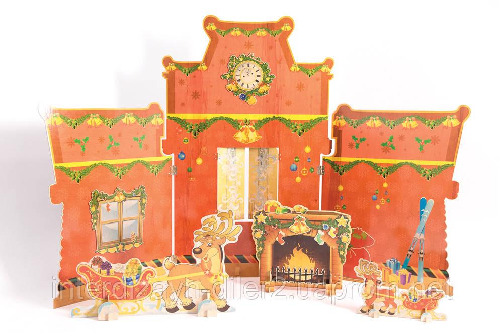 Композиция В гостях у Санты (ледяной дворец Санты внутр.сторона, камин, два вида оленей)