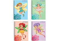 """Блокнот """"Fairy Taly"""", А6, пластиковая полноцветная обложка, глитерный лак, спираль, 48 л., клетка, а"""