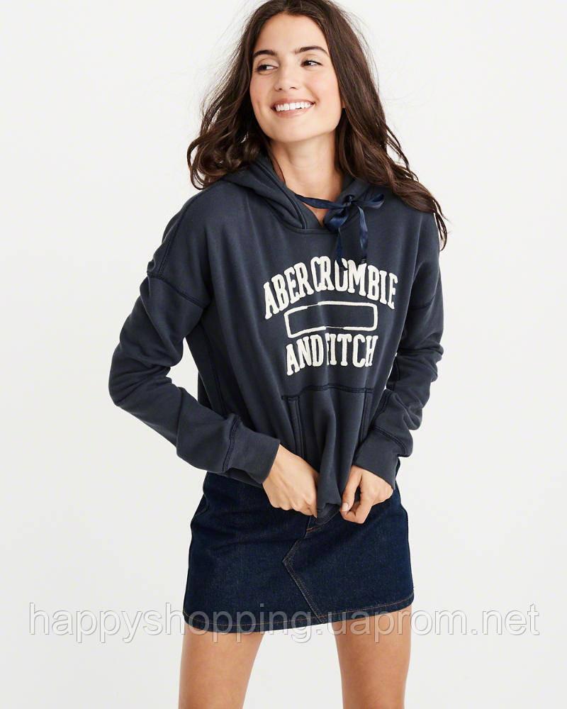 Женская темно-синяя худи с капюшоном Abercrombie & Fitch