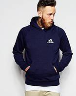 db5fc434af6b Теплая кофта спортивная с принтом Adidas Адидас толстовка темно синяя  (РЕПЛИКА)