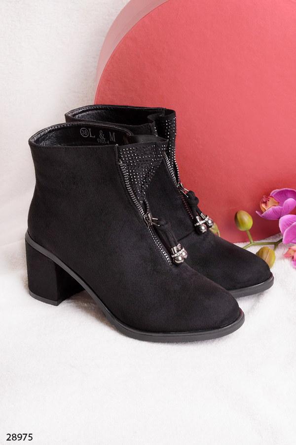 Ботильоны-ботинки женские черные со стразами на каблуке 7,5 см эко-замш fa0c02eb9d7