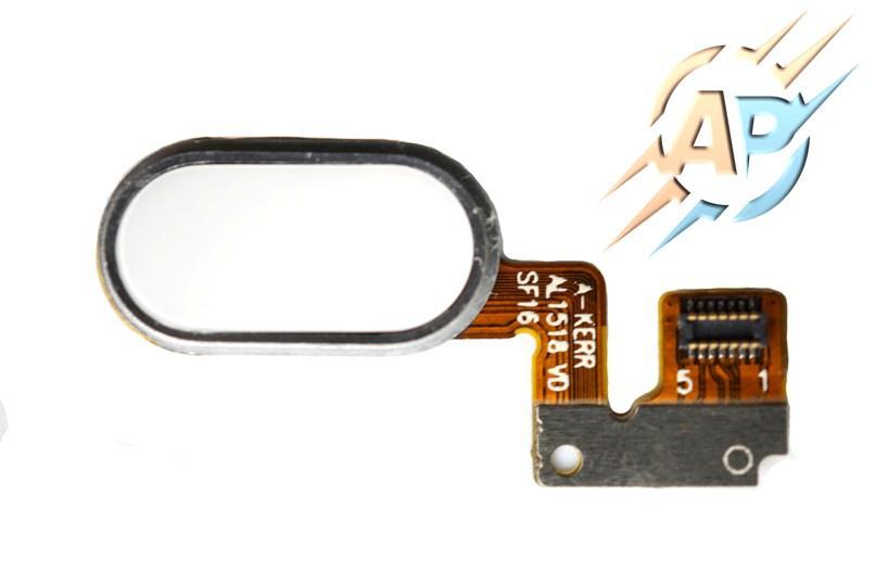 Кнопка сенсорная для  смартфона Meizu M3 Note белая. Тип 2. 7 pin/