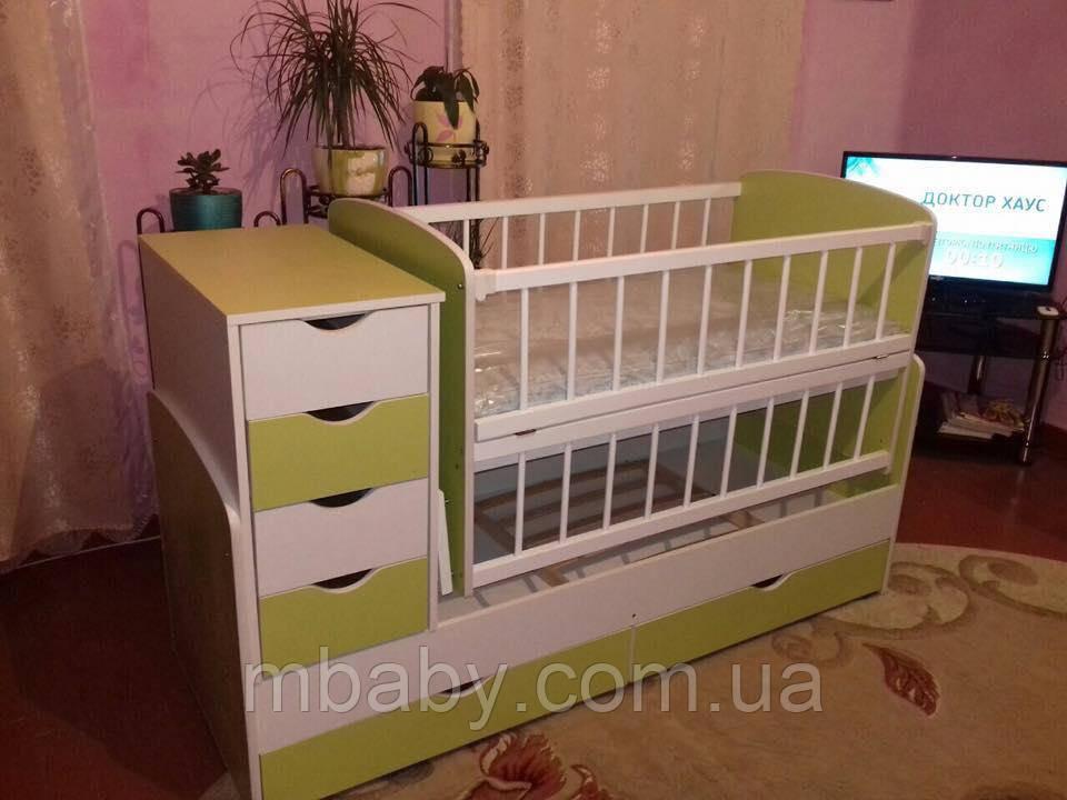 Детская кроватка трансформер №3 (Цветной ) 4 цвета